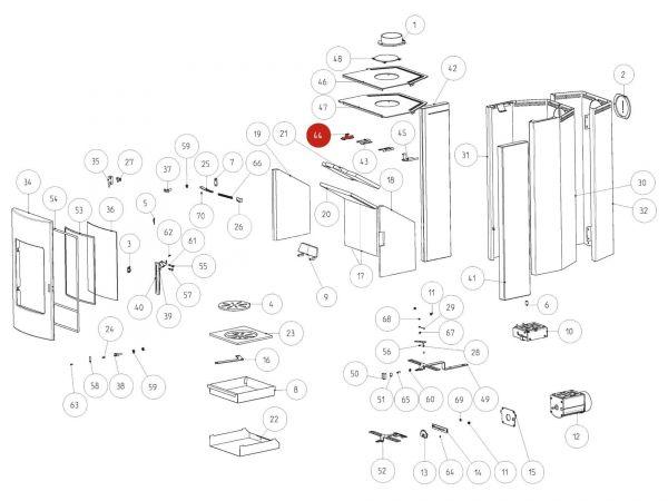 Rika Tema Steinhalter links komplett | B16437 | Splitzeichnung Nr. 44