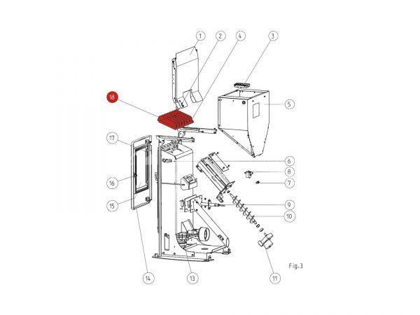 Rika Memo Feuerraumdeckel schwarz ab Seriennr. 1328866   B16052   Splitzeichnung Nr. 18