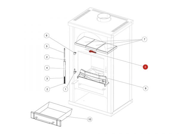 Sekundärluftschieber metallic zu Rika Alpha II | B14480  | Splitzeichnung Nr. 8
