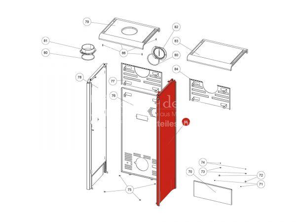Seitenverkleidung Glasdekor schwarz rechts kpl. zu Rika Back | B18423 | Splitzeichnung Nr. 85