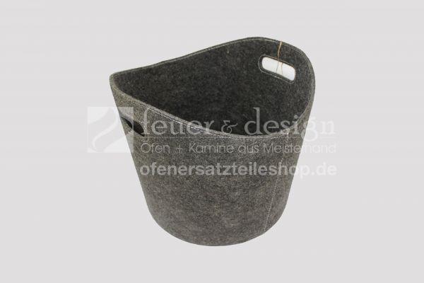 Holztransport Korb | Filz-Holzkorb anthrazit | oval DN 32-39cm | Höhe 31cm