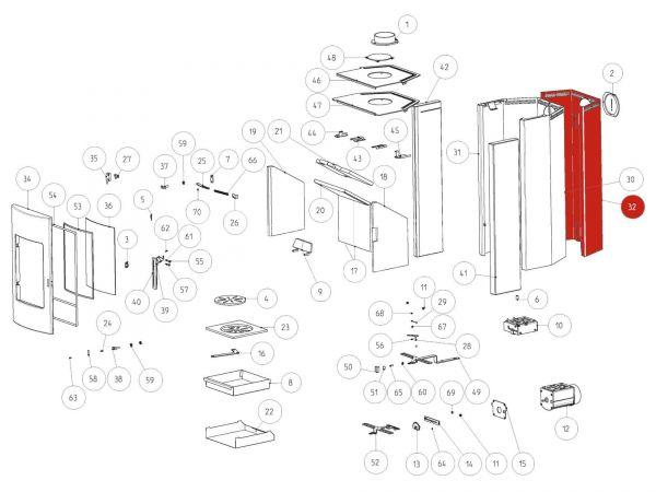 Rika Tema Rückwand für Steinverkleidung   Z34204   Splitzeichnung Nr. 32