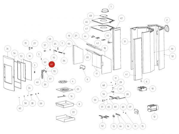 Rika Tema Zylinderstift Türgriff | N111798 | Splitzeichnung Nr. 61