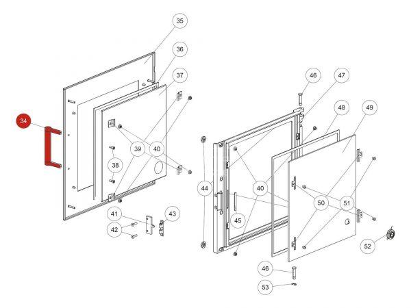 Backrohr-Türgriff zu Rika Back | B18414 | Splitzeichnung Nr. 34