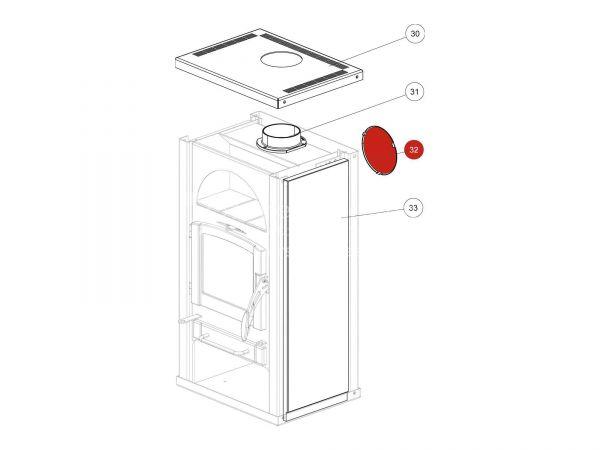 Sichtdeckel metallic zu Rika Alpha II | Z30072 | Splitzeichnung Nr. 32