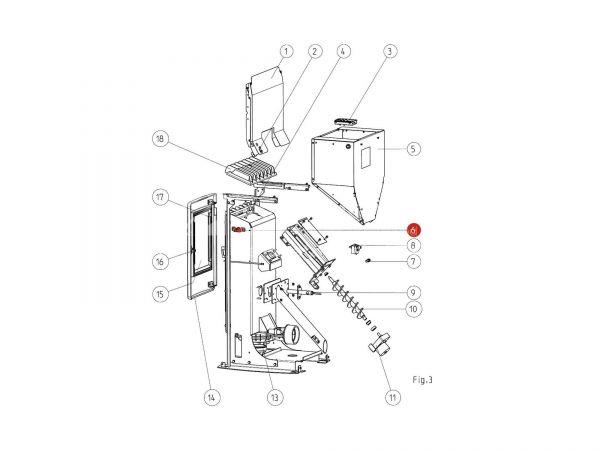 Flammsensorrohr ab Seriennr. 1328866 zu Rika Memo | B16053 | Splitzeichnung Nr. 6