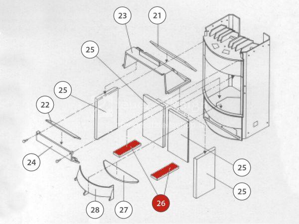 Rika Taurus Bodenschamott seitlich | Z20215 | Splitzeichnung Nr. 26