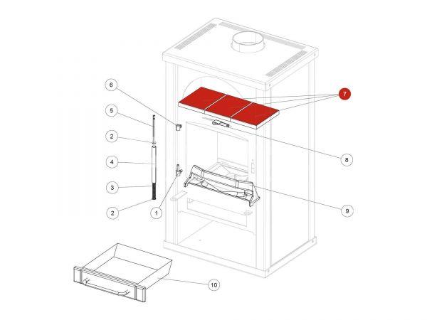 WHF Keramik Set cotto zu Rika Alpha II | E13556  | Splitzeichnung Nr. 7