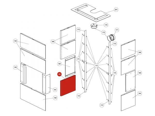 Rika Ambia Seitenverkleidung Speckstein unten | Z37749 | Splitzeichnung Nr. 164