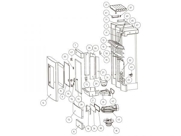 Rika Como Seitenverkleidung Stahl rechts metallic | Z33917