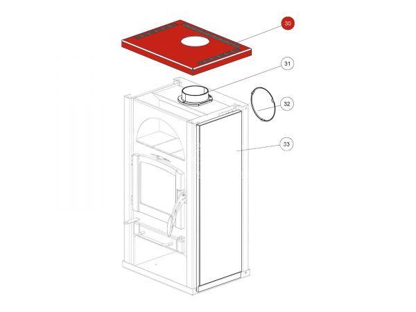 Deckel Anschluss hinten metallic zu Rika Alpha II | E13597 | Splitzeichnung Nr. 30
