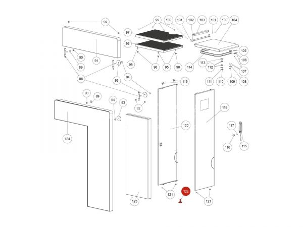 Höhenverstellschraube schwarz zu Rika Domo | N112490 | Splitzeichnung Nr. 122