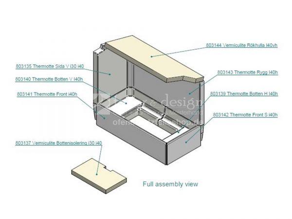 Contura i41S Feuerraumauskleidung | Vermiculitesatz | (für Tür rechts)
