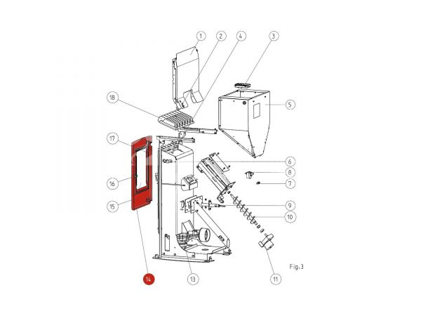 Feuerraumtür metallic bis Seriennr. 1301733 zu Rika Memo | Z36226 | Splitzeichnung Nr. 14