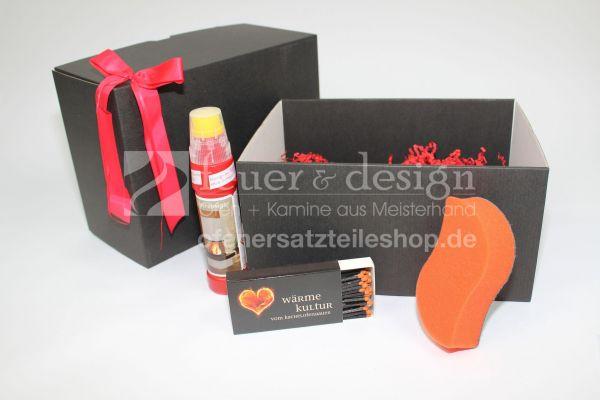 Kamin Geschenkset Saubere Sache in edler Verpackung mit Streichhölzer + Atmosfire Trockenreinigerschwamm + Glasreiniger