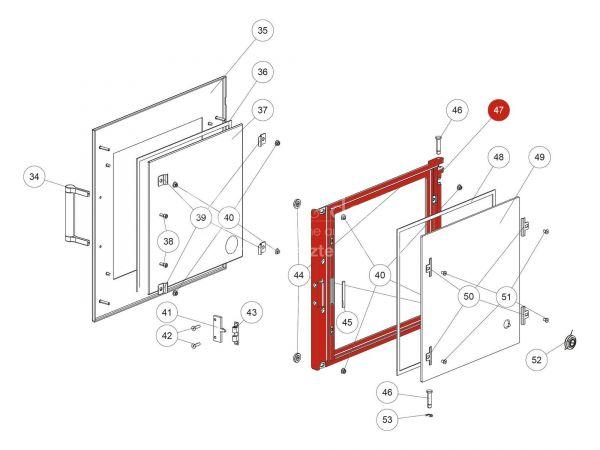 Backrohrtür zu Rika Back   Z37135   Splitzeichnung Nr. 47