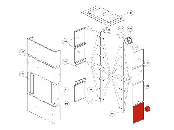 Rika Ambia Seitenverkleidung Stahl unten | LB00745 | Splitzeichnung Nr. 106