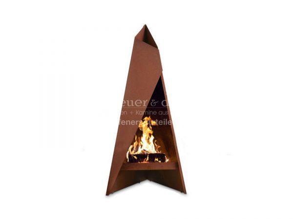 Gartenfeuerstelle | Terassenofen Heta Tipi midi aus hochwertigem Cortenstahl | 1.20m