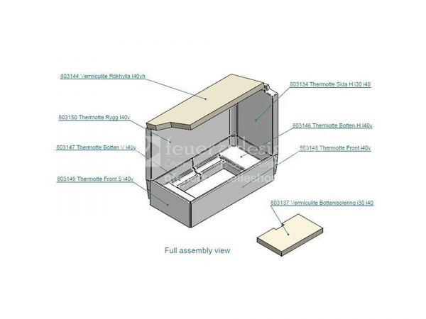 Contura Schamott Feuerraumauskleidung | Contura Serie i40|i41 ( für Tür links ) | Schamottesatz
