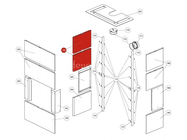 Rika Ambia Seitenverkleidung Speckstein oben | Z37755 | Splitzeichnung Nr. 166