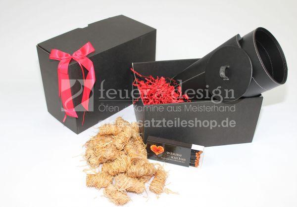 """Geschenkset """" Funkenfeuer """"   Kaminanzünder + Aufbewahrungsbox + Streichhölzer"""