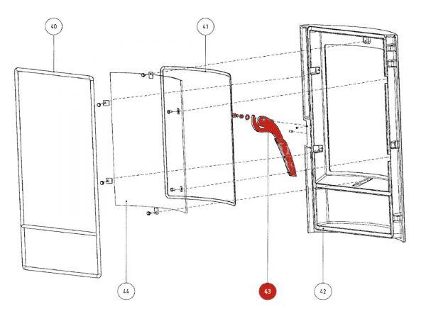 Rika Tango Türgriff komplett metallic   B14561   Splitzeichnung Nr. 43