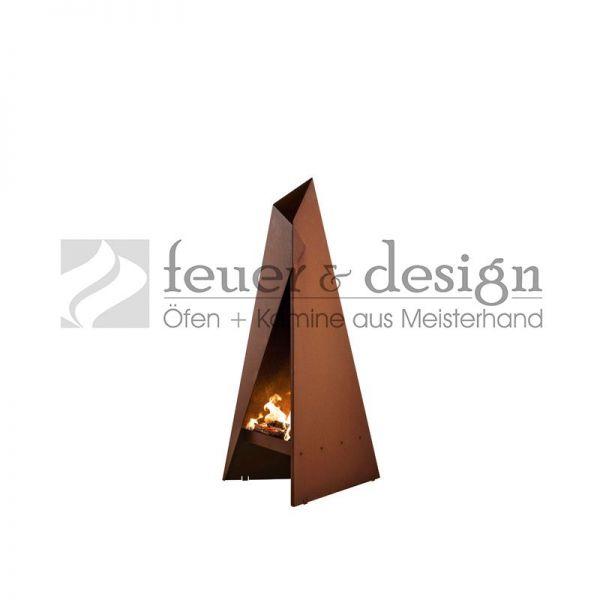 Gartenfeuerstelle   Terassenofen Heta Tipi klein aus hochwertigem Cortenstahl   0.96 m