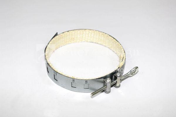 Ofen-Rohrschelle | Rauchrohrschelle mit Dichtungsband | Durchmesser verstellbar 120 bis 200 mm