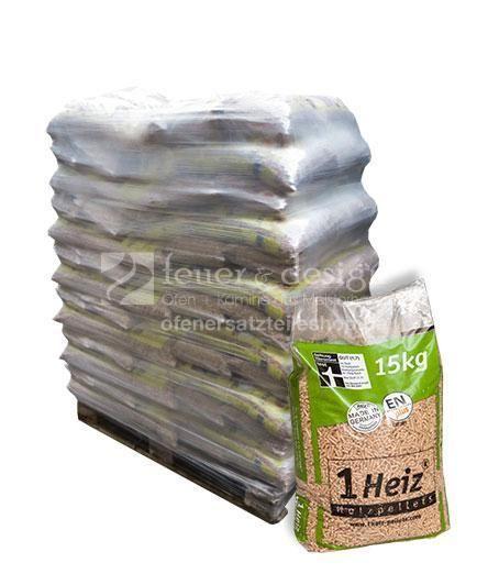 Palette Premium Holzpellets | 65 Säcke á 15kg = 975kg, Einwegpalette | DIN EN Plus A1 -Zertifikat