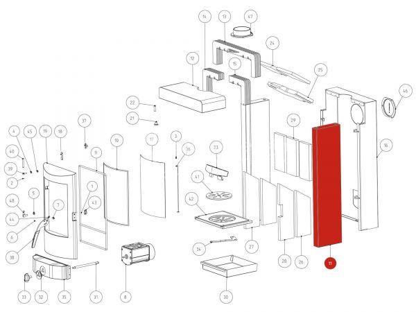 Rika Fox Seitenverkleidung Vulcano red | Z34101 | Splitzeichnung Nr. 11