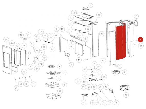 Rika Tema Seitenverkleidung Stahl rechts | B16353 | Splitzeichnung Nr. 30