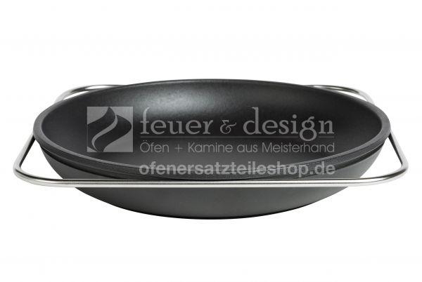 GUSSTO Gusseiserne Pfanne 28 cm   Edelstahl-Reling   GG20 Zertifiziert