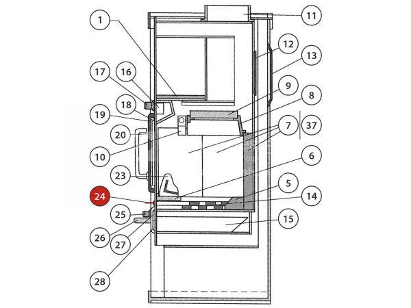 Rika Regent Rüttelrostbetätiger komplett | B10138 | Splitzeichnung Nr. 24