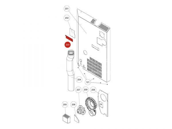 Kabelhalterung zu Rika Domo | L03374 | Splitzeichnung Nr. 203
