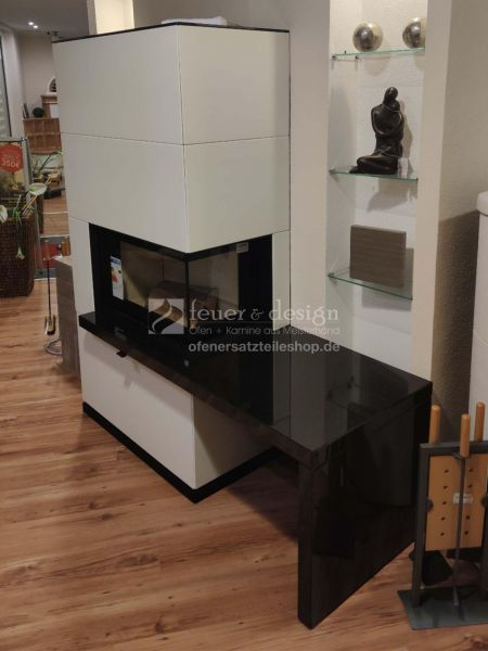 Contura Kaminofen i41A | Art Stone | Bank rechts I  WSM 200 Kg | Glas | Lack Schwarz