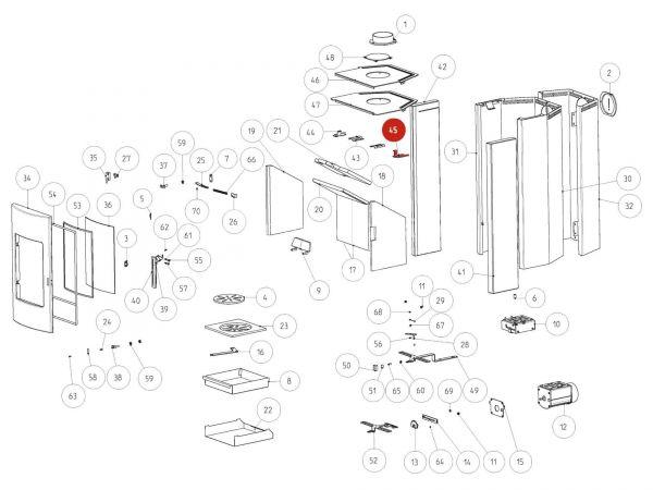 Rika Tema Steinhalter rechts komplett | B16438 | Splitzeichnung Nr. 45