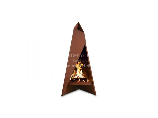Gartenfeuerstelle | Terassenofen Heta Tipi klein aus hochwertigem Cortenstahl | 0.96 m
