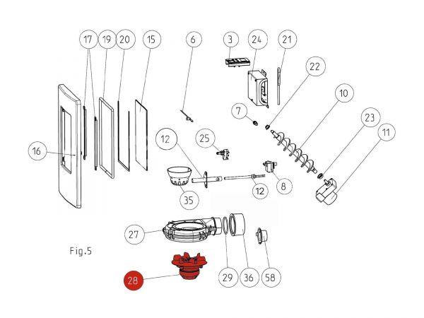 Saugzuggebläsemotor bis Seriennr. 177781 zu Rika Memo | N111512 | Splitzeichnung Nr. 28
