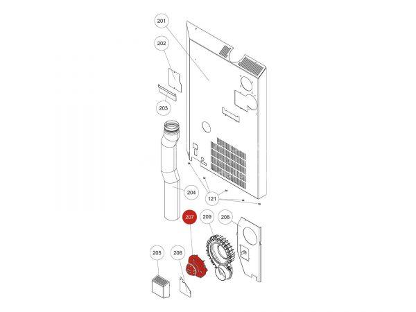 Gebläsemotor zu Rika Domo | N112000 | Splitzeichnung Nr. 207