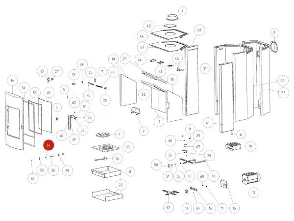 Rika Tema Türauflager | L01413 | Splitzeichnung Nr. 24