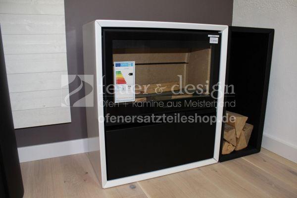 Contura Kaminofen 310 G | Glasfront | Holzfach L | Schublade Schwarz | Lack weiss