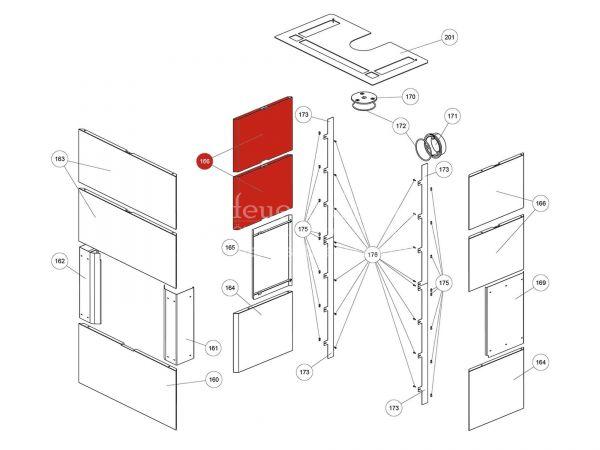 Rika Ambia Seitenverkleidung Betonstein unten | Z37794 | Splitzeichnung Nr. 166