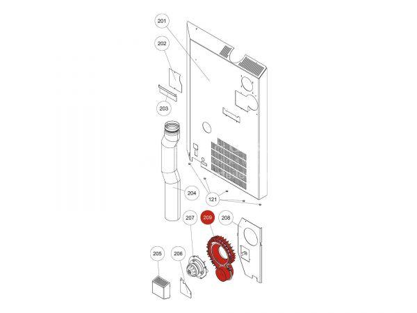 Gebläsegehäuse zu Rika Domo | B17370 | Splitzeichnung Nr. 209