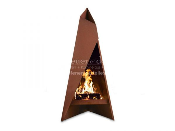 Gartenfeuerstelle | Terassenofen Heta Tipi groß | aus hochwertigem Corten Stahl | 1.47m
