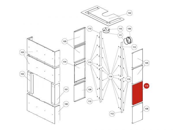 Rika Ambia Seitenverkleidung Stahl rechts | B18580 | Splitzeichnung Nr. 116 & 169