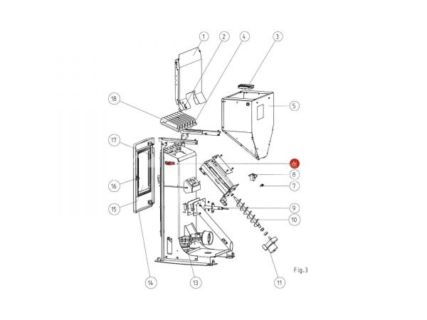 Flammsensorrohr bis Seriennr. 1328865 zu Rika Memo | B15248 | Splitzeichnung Nr. 6