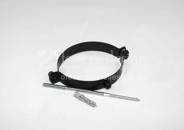 Ofen - Rohrschelle | 130 mm Durchmesser |  schwarz-metallic | mit Gewindestift