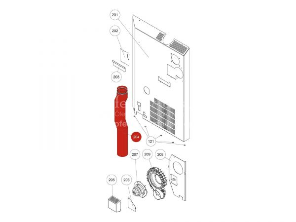Rauchrohr zu Rika Domo | N112317 | Splitzeichnung Nr. 204