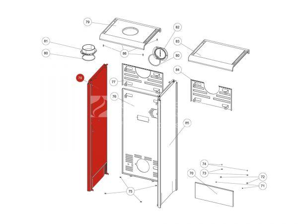 Seitenverkleidung Glasdekor schwarz links kpl.  Zu Rika Back | B18422 | Splitzeichnung Nr. 78