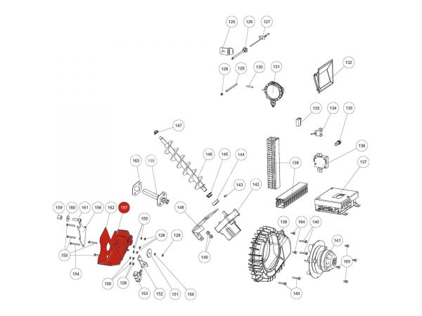 Kipprostmotor komplett zu Rika Domo | N112014 | Splitzeichnung Nr. 157